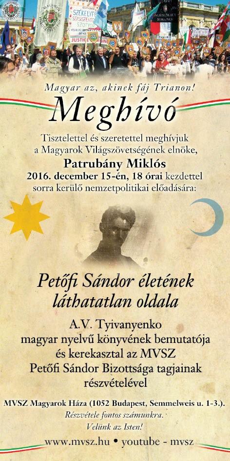 Patrubány Miklós decemberi nemzetpolitikai előadása: Petőfi Sándor életének láthatatlan oldala
